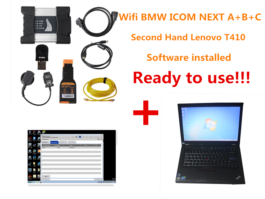 Full Pakage V2018 9 WIFI BMW ICOM NEXT A + B + C NEW GENERATION Of ICOM A2  Installed on Lenovo T410 4GB Memory Ready to Use!